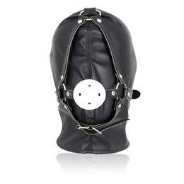 Wholesale Leather Gagged - Newest Fetish Leather Bondage Hood Open Mouth Sex Slave Gag Mask BDSM Bondage Restraints Erotic Sex Toys For Couples,Adult Game