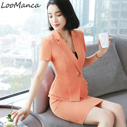 Wholesale Formal Wear Uniforms - Fashion women skirt suit 2018 New Elebusiness formal office ladies short sleeve blazers with skirt work wear uniform