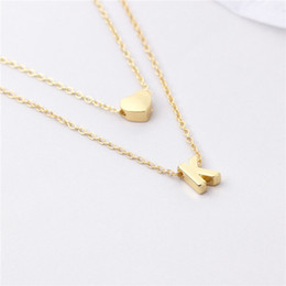 Wholesale Personalized Jewelry Friends - New Fashion Tiny Dainty Heart Initial Double layer initial letter Necklace Personalized Necklace Name Jewelry friend gift collar