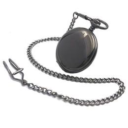 Elegante Negro Suave Steampunk Hand Wind Reloj de bolsillo mecánico para hombre Roman Number Dial W / Chain Full Hunter Watch desde fabricantes