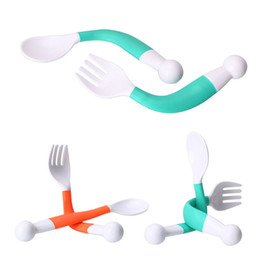 Platos de niños online-Cuchara de bebé flexible Tenedor Set Ajustable niños Aprendizaje Platos Vajilla Infantil Entrenamiento para niños Vajilla Twist Música Bendable
