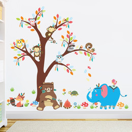 Wholesale Animal House Wallpaper - Bear Owl Animal Cartoon Tree Vinyl Wall stickers for kids rooms Home decor DIY Child Wallpaper Art Decals House Decoration