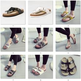 Wholesale Nubuck Women Shoes - Wholesale New Summer women luxury beach cork Slippers Casual Sandals Sequins Slides Double Buckle Clogs Women Slip on Flip Flops Flats Shoe