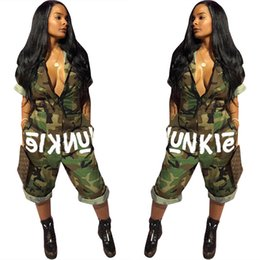 Wholesale camo collars - America Independence Day Camo Calf-Length Jumpsuit Women Casual Loose 3 4 Sleeve Zipper Pocket Deep V-neck Camouflage Romper Summer Spring
