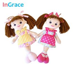 Wholesale Kawaii Mini Dress - InGrace baby girls first doll soft cloth apron dolls with flower dress pink kawaii brown hair girls birthday mini toys 6 colors