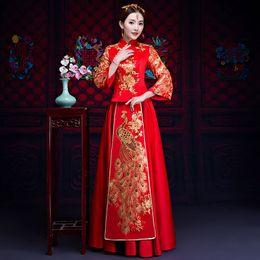 Chinesische braut kostüm online-Altes Ehekostüm die Braut, die Kleid traditionelle chinesische Hochzeitskleidfrauen cheongsam Stickerei Phoenix rotes Qipa kleidet