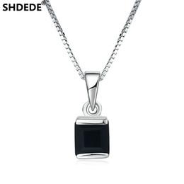 Minimalistische luxusbeleuchtung online-SHDEDE 925 Silber mehrfarbige Licht Luxus Schmuck Halskette natürlichen schwarzen Saphir schwarz Chalcedon Anhänger minimalistischen Boutique