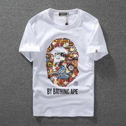 Wholesale monkey prints - Monkey Luminous Animal Printed T-Shirts For Teenager Tide Brand APE Shark Head Summer Printed T-Shirts For Lovers