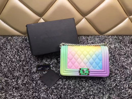 Wholesale Tie Dye Purse Free Shipping - Iridescent handbag high quality shoulder bag 2018 new banquet package brand evening bag leather wallet purse backpack free shipping