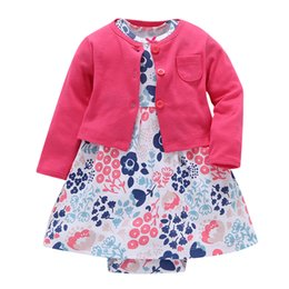 Wholesale Long Sleeve Baby Bodysuit 24 - FREE SHIPPING Baby Girls Dresses Clothing Set 2 pcs( Long Sleeve Cardigan+Bodysuit Dress) 6 Months to 24 Months