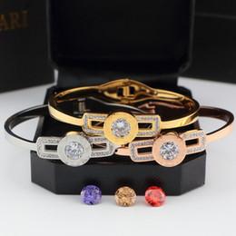 Wholesale Japan Gold Bracelet - Japan classic titanium bracelet for women diamond drill four diamond can change bangle Steel bv logo love bracelet for women fine Jewelry