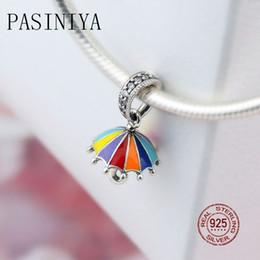 2019 guarda-chuvas femininas Pasiniya100% moda pingente de guarda-chuva colorido em prata esterlina pingente de personalidade linda das mulheres pode ser colar diy guarda-chuvas femininas barato