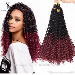 Ombre кудрявые волосы онлайн-Синтетические Marlybob крючком наращивание волос Ombre волна воды афро кудрявый вьющиеся ямайский навалом Freetress прическа для черных женщин 16 дюймов