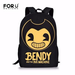 black red white book Promo Codes - FORUDESIGNS Bendy and The Ink Machine Children School Bags Game Backpack Student School Bag Book Backpack Daily Bag