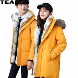 Wholesale Jacket Rabbit Fur Hoods - TEAEGG Natural Rabbit Fur Thick Winter Jacket Men Women Hood Chaqueta Plumas Hombre Parka Men's Down Jackets Plus Size 5XL AL363