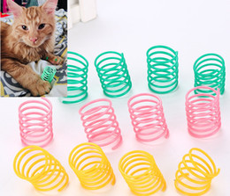 2019 gato llevó la pluma Juguete colorido plástico durable del gato de los resortes del calibrador pesado durable ancho del animal doméstico que juega los juguetes para el gatito