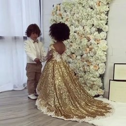 Wholesale rhinestones for pageant dresses - Gold Sequins Flower Girls Dresses For Weddings Sheer Neck Long Sleeves Appliques Girls Pageant Dresses Birthday Party Dresses Sweep Train