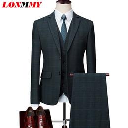 smoking vert décontracté Promotion LONMMY 5XL 6XL 3 Pieces Veste de costume homme smoking occasionnel Blazer veste slim fit Homme avec pantalon 2018 Bleu Jaune Vert