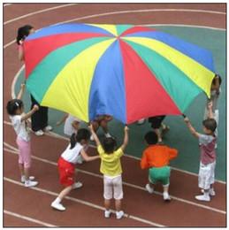 Wholesale parachutes for kids - 8 Handle 2m Kids Rainbow Parachute Multicolor Nylon Suitable For 4-8 Individual Outdoor Fun Sport Development Cooperation Toy CCA9261 50pcs