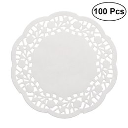 Wholesale white paper doilies - 100pcs Disposable Oil-absorbing White Lace Paper Doilies Cake Box Liner Packaging Paper Pad Baking Tools Accessories