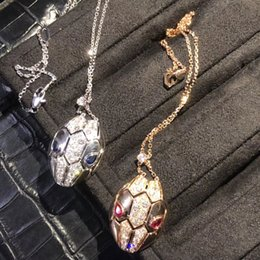 Wholesale moving faces - Bv Snake Necklace & Head Moving Gold Plated Micro Inlay Stone Simple Fashion Europe and America Big Brand Necklace