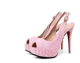 Wholesale High Heels Night Club - Summer new style high-heeled sandals women Korean version waterproof platform fine heel fish mouth shoes night club sexy princess heels 12CM