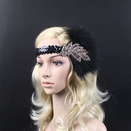Wholesale Vintage Feather Headpieces - 10pcs Vintage Feather Beads Sequins Embellished 20s Headpiece 1920s Gatsby Flapper Headband With Purple Diamond Leaf Ornament