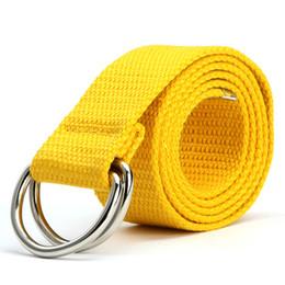 Wholesale plain white gold ring - Fashion Unisex Canvas Belt Fabric Webbing Waist Casual D Ring Plain Canvas Belt Waistband