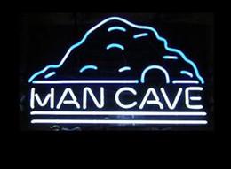 La birra al neon segna la caverna dell'uomo online-Tubo di vetro Man Cave Luce al neon Segno Home Beer Bar Pub Sala ricreativa Luci del gioco Windows Glass Wall Signs 17 * 14 pollici