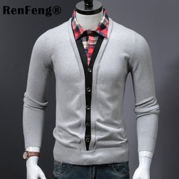 e147a20f3c 2018 New men tops Fake two-piece shirt turn-down collar sweater slim  fashion clothing mens sweaters pullover wool warm knit man