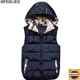 a9374f7dce man blue camouflage winter jacket Canada - MFERLIER Winter pocket Men women  Couple Vest Waistcoat hooded