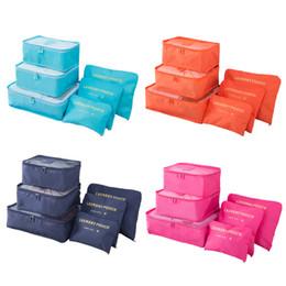 Paquete de almacenamiento de ropa online-Conjunto de 6pcs Embalaje bolsa de embalaje Cubos para zapatos, bolsa de almacenamiento de ropa cosméticaTravel equipaje Organizador Ropa interior cajón divisor Closet