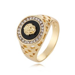 Wholesale Finger Popping - Men's Ring Top Fashion Hip Pop Medusa Head Gold Silver Color Black Males Man Finger Ring for Men Women Size 7-12