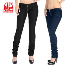 0f5797854 Sexy Plus Size Mulheres Denim Com Zíper Aberto U Virilha Lápis Calças Do Punk  Cintura Baixa Leggings Jeans Casuais Calças Capris Club Dance Wear K