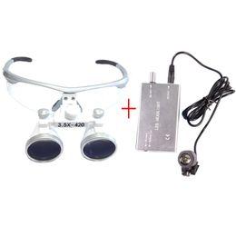 Wholesale Dental Glasses - 3.5X Dental Hygienists Surgical Binocular Loupe Glasses 3W Headlight Lamp Silver