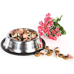 Wholesale Pet Food Containers - High Quality bowl New High Quality Practical Anti-skip Pet Bowl Food Container Stainless Steel Dog Feeder Dishes 0054 Support Wholesale