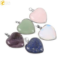 lapis lazuli bead stone Promo Codes - CSJA Natural Lapis Lazuli Amethyst Green Aventurine Rose Quartz Opal Stone Bead Love Heart Necklace Pendant Jewelry Charms for Women E074 A