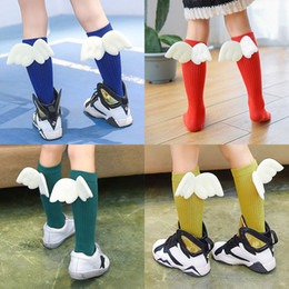 Wholesale High Socks For Kids - Kids Cotton Socks with Wings Long Knee-high Quilted Stockings 11 Colors Breathable for Boys Girls 1-10T