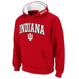 Wholesale Fleece Outlet - New Fashion Classical Indiana University Hoodies Men Hooded Sweatshirt Factory Outlet Red Hoodies Letter Print Free Shipping