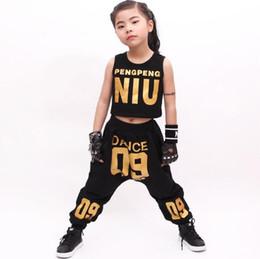 Wholesale dance costume child hip hop - Kid's Casual Sets Suits Fashion Summer Children Clothes Hip Hop Dance Set Costume Girls Clothing 2 Pieces Suit Boys Harem Pants