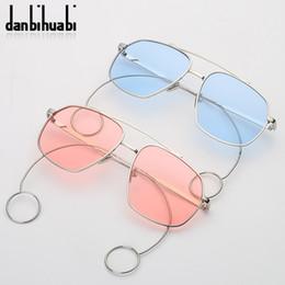 746f66453a0 Clear Sunglasses Women Brand Designer Small Frame Rose Gold Fashion Sunglasses  Men Earring Transparent Sun Glasses Metal Frame