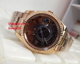 Wholesale auto timing - Men luxury watches 42MM Sky Dweller 326935 Brown Dial Second time zone Asia 2813 18K Rose Gold bracelet Automatic Mens watch Watches