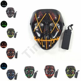máscara de máscara completa Desconto 10 Cores LED Máscaras de Fantasma do Dia Das Bruxas Masquerade Máscaras de Rosto Cheio O Fio do filme Purge Máscaras Brilhantes máscara Do Partido Do Presente 100 pcs T1I989