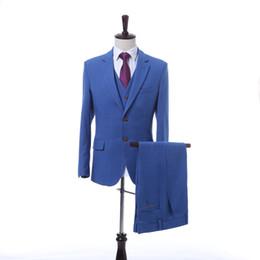 vestito blu da usura della maglia di colore Sconti Royal Blue Uomini solido Colore di nozze usura di inverno del vestito giacca sportiva degli uomini Jacquard per la promenade Groomsman Slim Fit vestito (giacca + pantaloni + Vest)