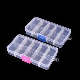 humidificador charutos Desconto 10 Slots Nail Art Caixa De Armazenamento De Plástico Transparente Display Case Organizador Titular Para Strass Beads Anel Brincos