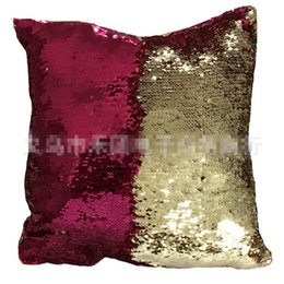 Wholesale Cooling Pillow Cover - DHL Double Sequin Pillow Case cover Glamour Square Pillow Case Cushion Cover Home Sofa Car Decor Mermaid Christmas Pillow Covers K0132