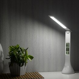 Wholesale modern wedges - Foldable Touch Desk Lamp 3-level Dimmable Eye-Care LED Reading Light Table Lamp with Digital Calendar 2018 New