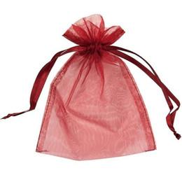 bolsos del favor de borgoña Rebajas 100 UNIDS / lote BURGUNDY / DARK ROJO Organza Favor Bolsas Bolsas de Empaquetado de Joyería de Boda, Bolsas de Regalo Agradable FÁBRICA