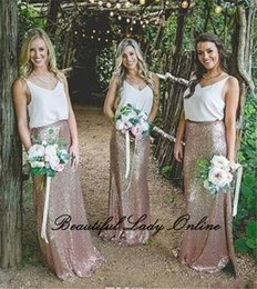 Wholesale Straight Ivory Wedding Dresses - Bling Sequin Bridesmaid Dresses 2018 High Quality Floor Length Sleeveless Straight Long Bridesmaid Gowns Cheap Women Wedding Party Gowns