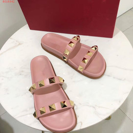 Wholesale thick leather belts - 2018 new styles summer rivet double leather belt fashion top quality thick sole casual wear outside women slipper